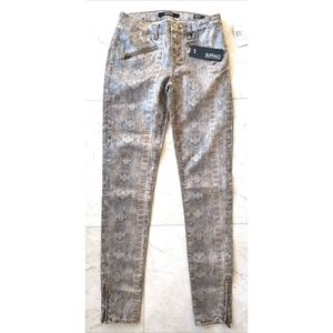Buffalo Python jeans mid rise skinny gold cropped
